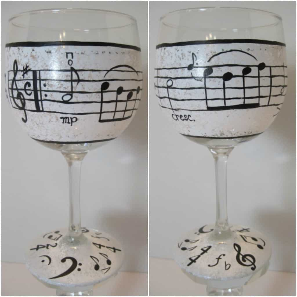 Hand Painted Music Lovers Wine Glass