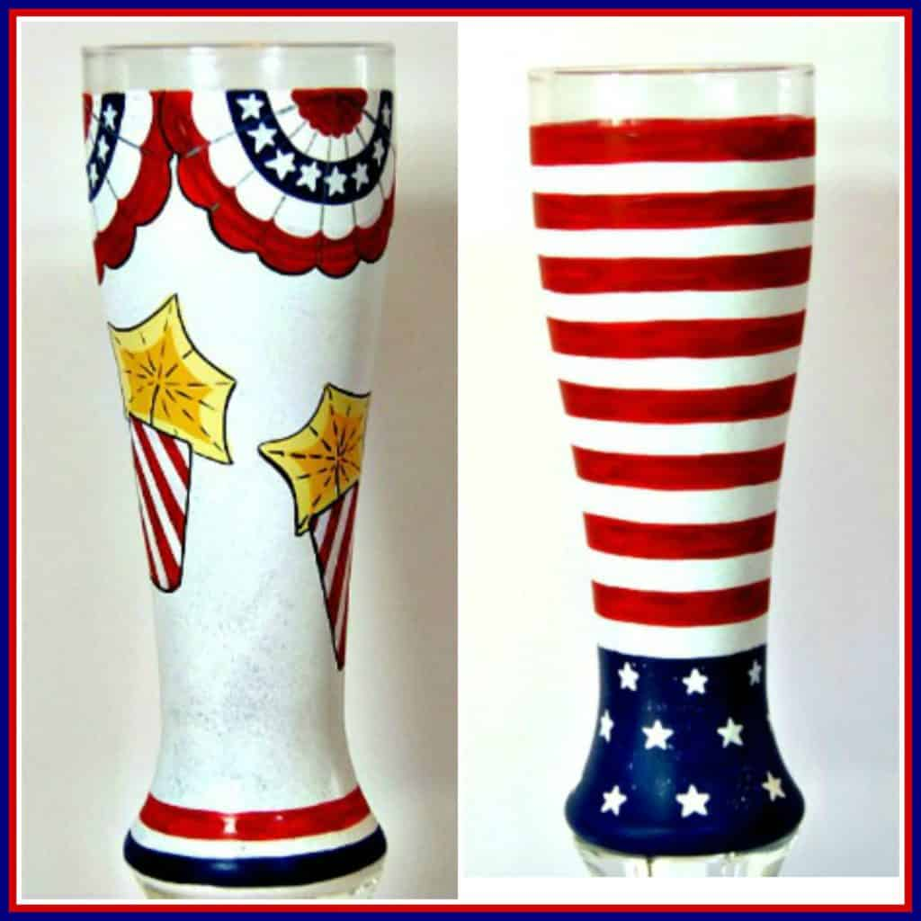 Hand Painted Patriotic Pilsner Glasses - Kudos Kitchen by Renee