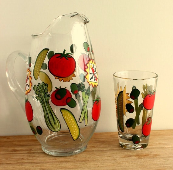 Hand Painted Bloody Mary Pitcher and Glass