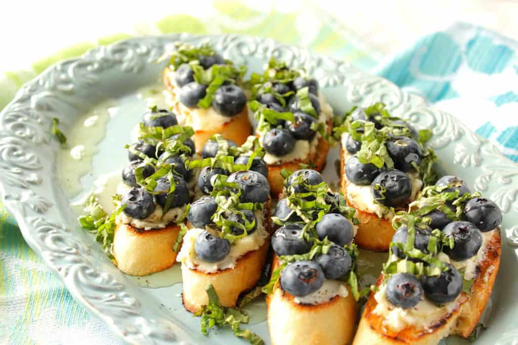 Fast and Easy Blueberry Bruschetta Appetizer