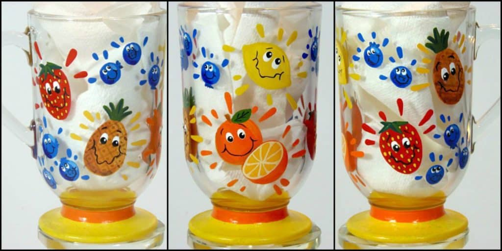 Hand Painted Fruit Juice Glass