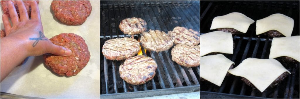 pork belly burger on the grill