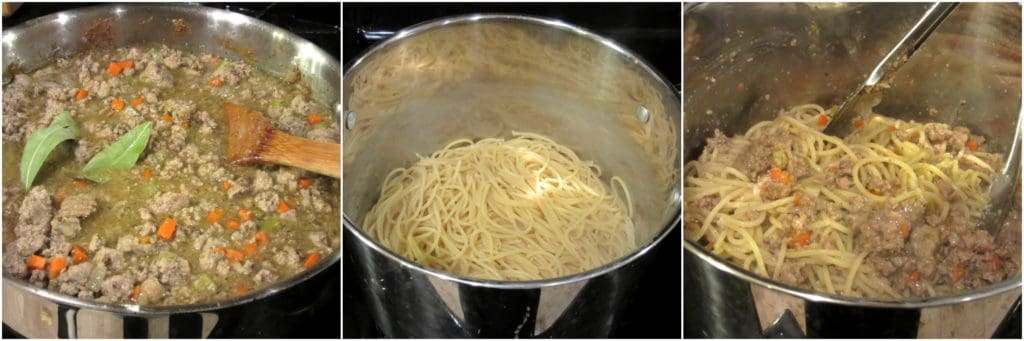 Turkey Bolognese over Spaghetti photo collage