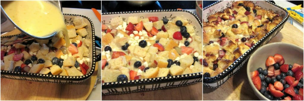 How to make Red White and Blue Bread Pudding photo tutorial.