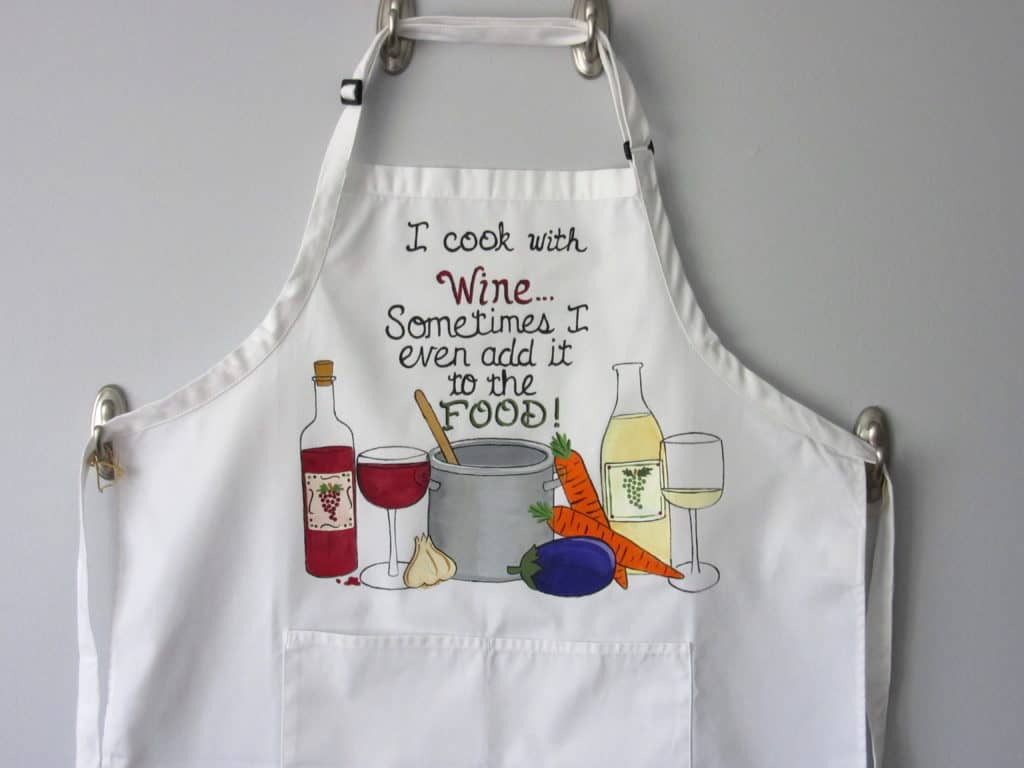 Cooking with Wine Hand Painted Apron