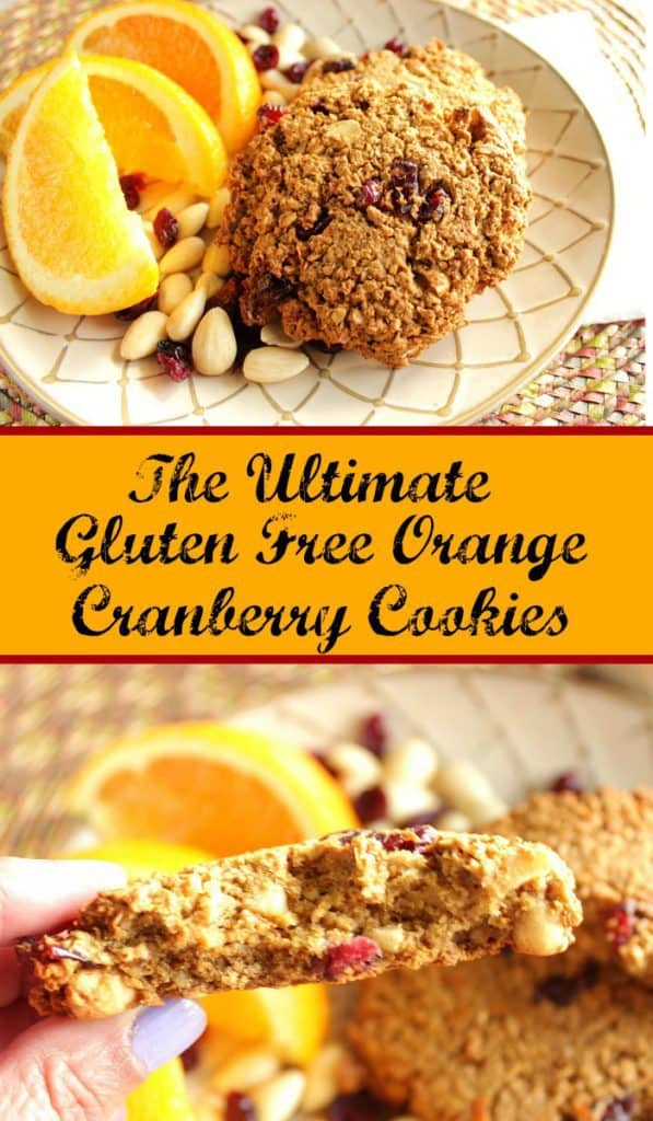 Vertical title text collage image of gluten-free breakfast cookies