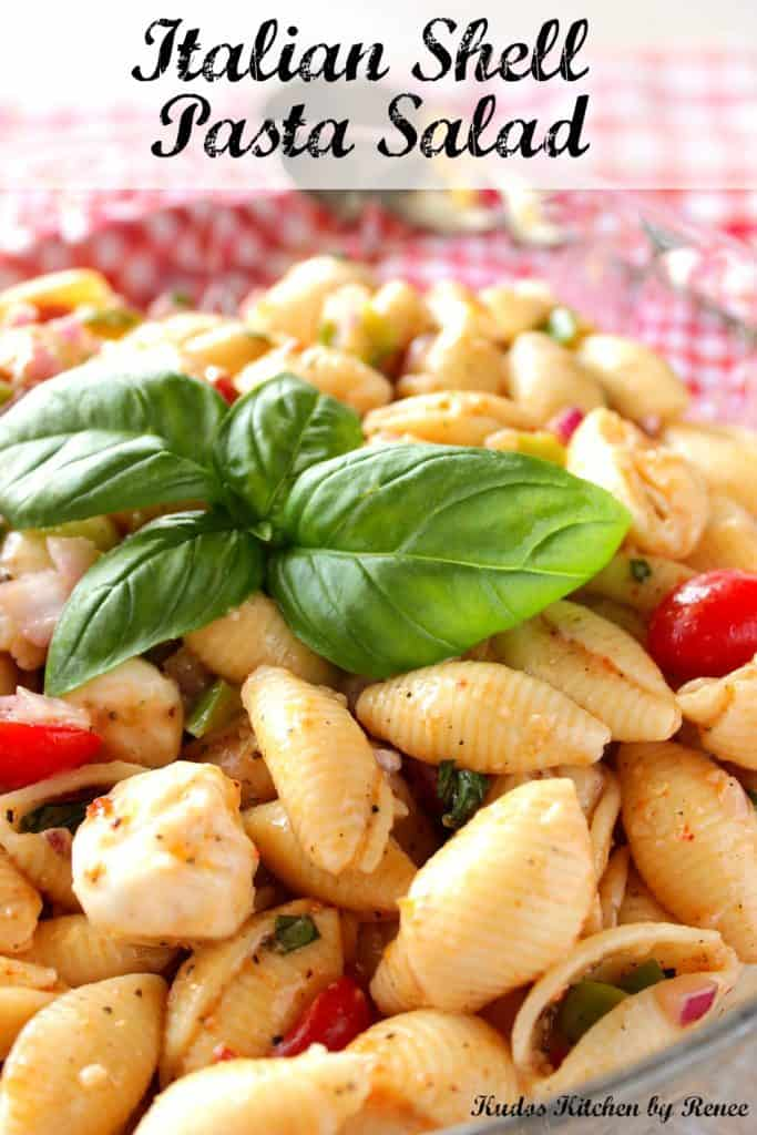 Closeup photo of pasta shell salad with fresh basil leaves, mozzarella cheese and title text.