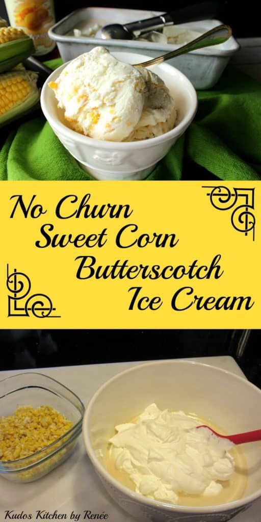 A vertical collage image of no-churn sweet corn ice cream along with a title text overlay graphic