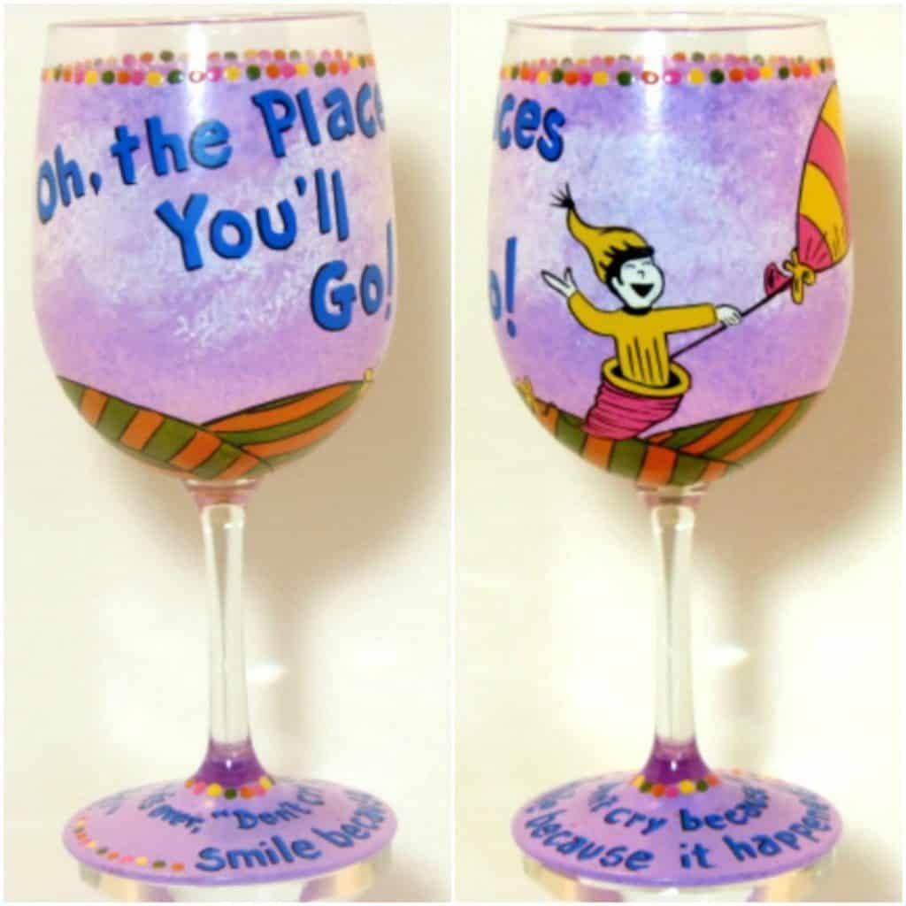 Dr. Seuss Hand Painted Wine Glass - Kudos Kitchen Paints