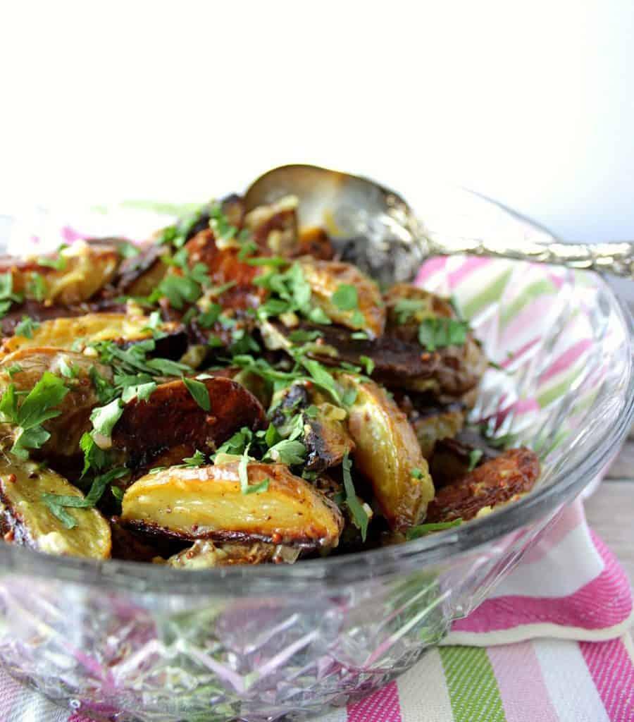 Easy Roasted Potato Salad with Mayonnaise Mustard Dressing