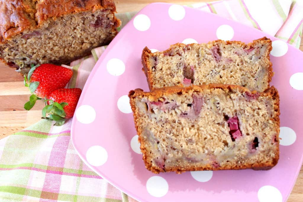 Rhubarb Quick Bread with Strawberry and Banana