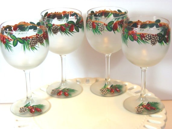 Pine cone and berries hand painted wine glasses