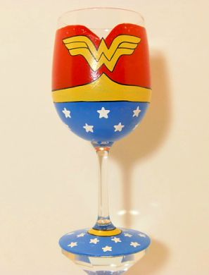 Wonder Woman Hand Painted Wine Glass