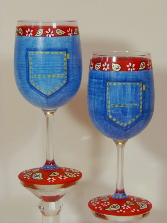 Blue Jean Bandanna Hand Painted Wine Glasses
