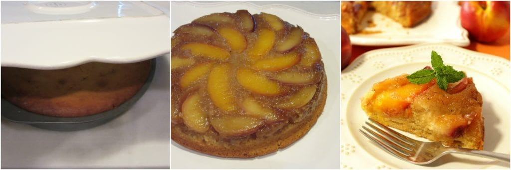 How to make a Nectarine Upside Down Cake photo tutorial collage.