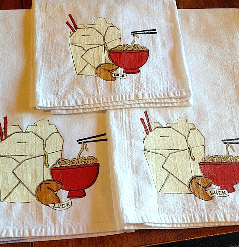 Hand Painted Noodle Bowl Tea Towels