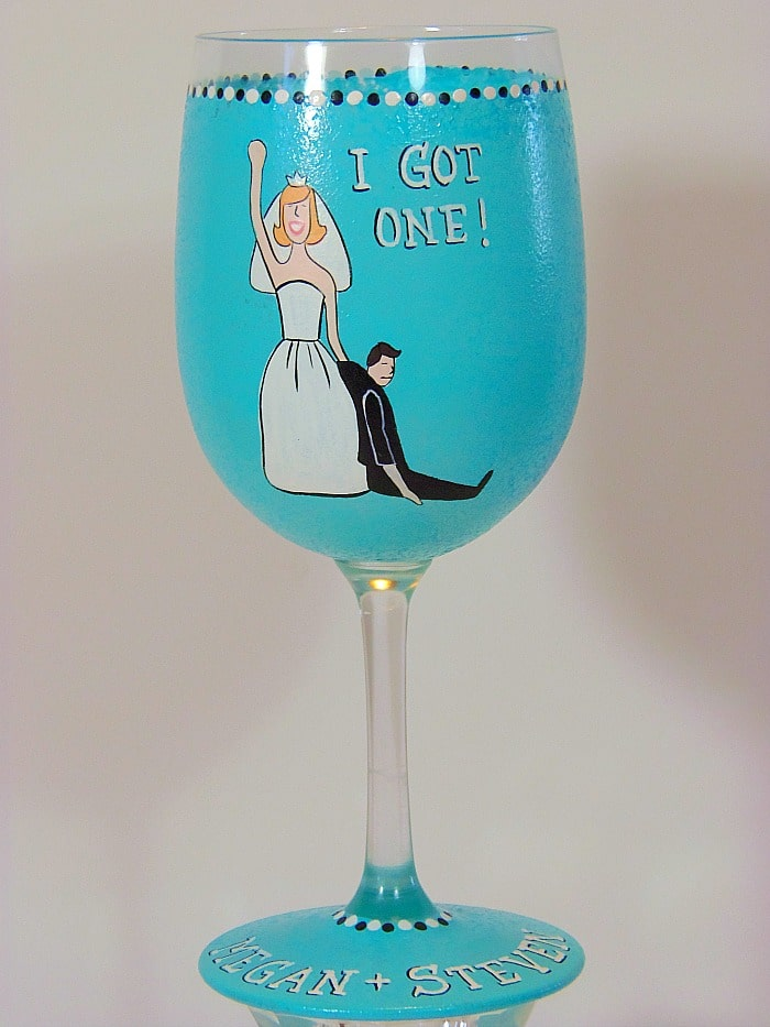 Whimsical Bride's Hand Painted Wine Glass - kudoskitchenbyrenee.com