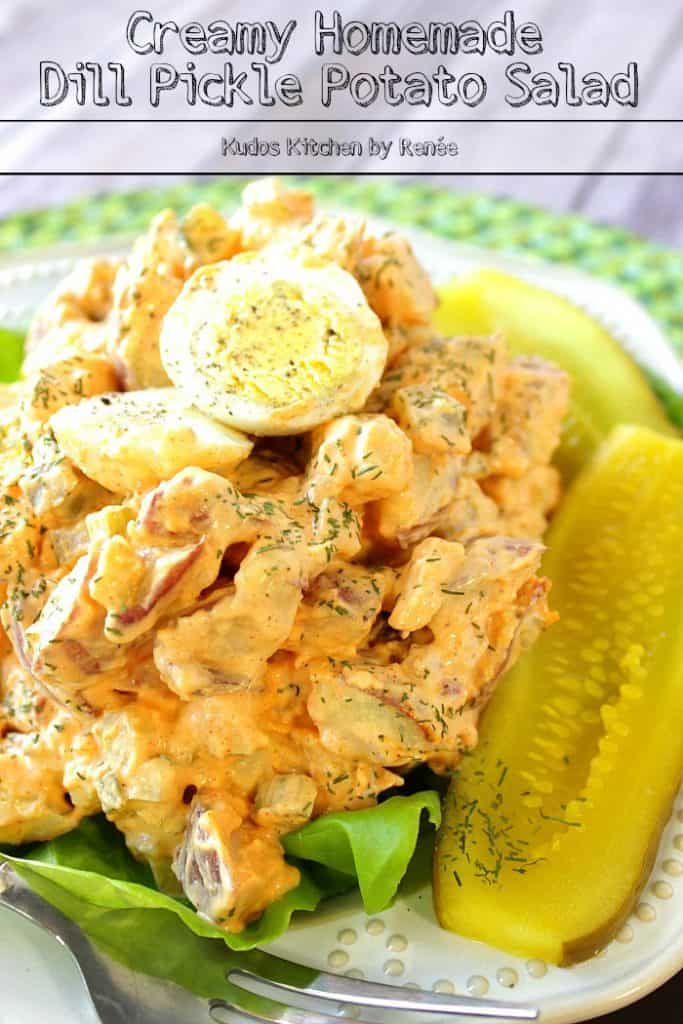 Title text image of creamy dill pickle potato salad with pickle spears and a hard boiled egg on top.