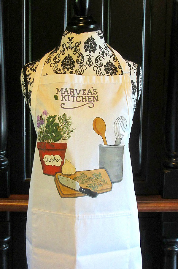 Cooking with fresh herbs hand painted apron.