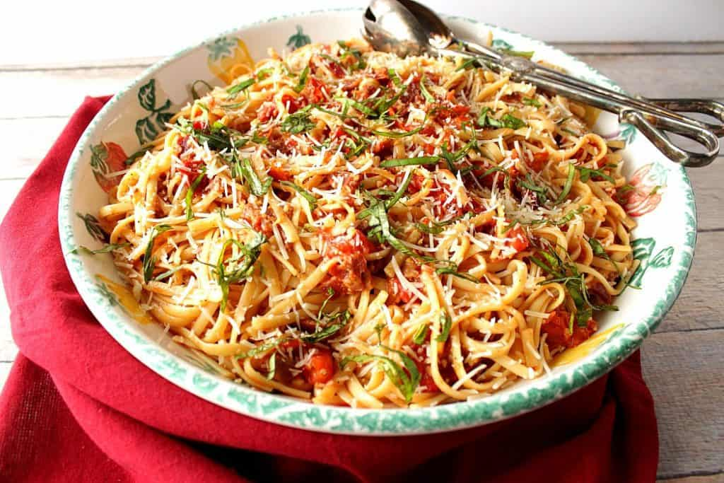 Pasta with tomatoes and bacon. - www.kudoskitchenbyrenee.com