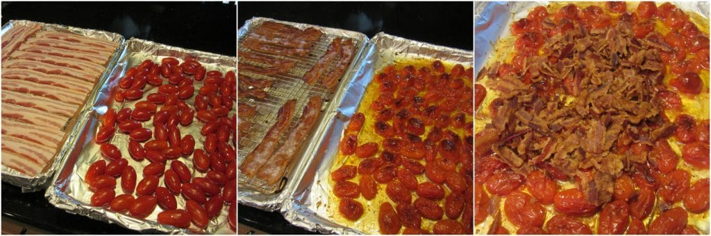 How to roast tomatoes and bacon.