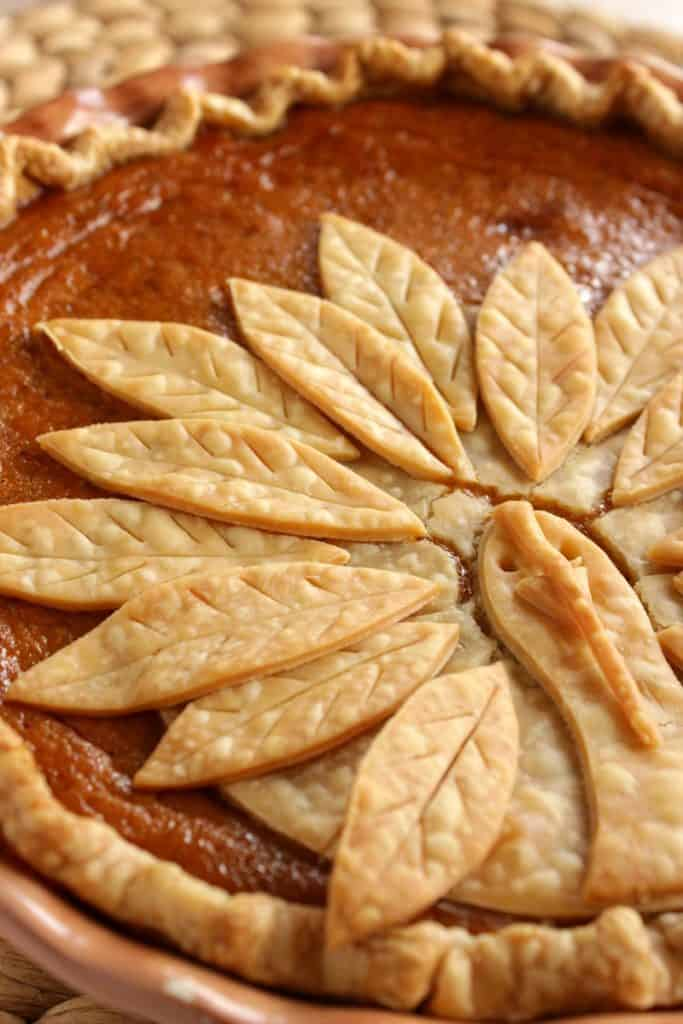 Vertical photo closeup of a pumpkin pie with a turkey crust.