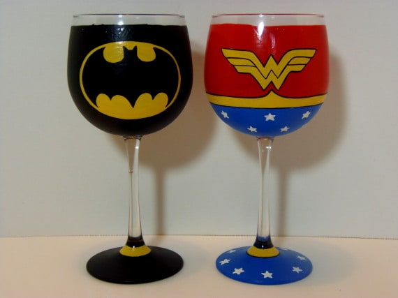 Batman and Wonder Woman Wine Glasses