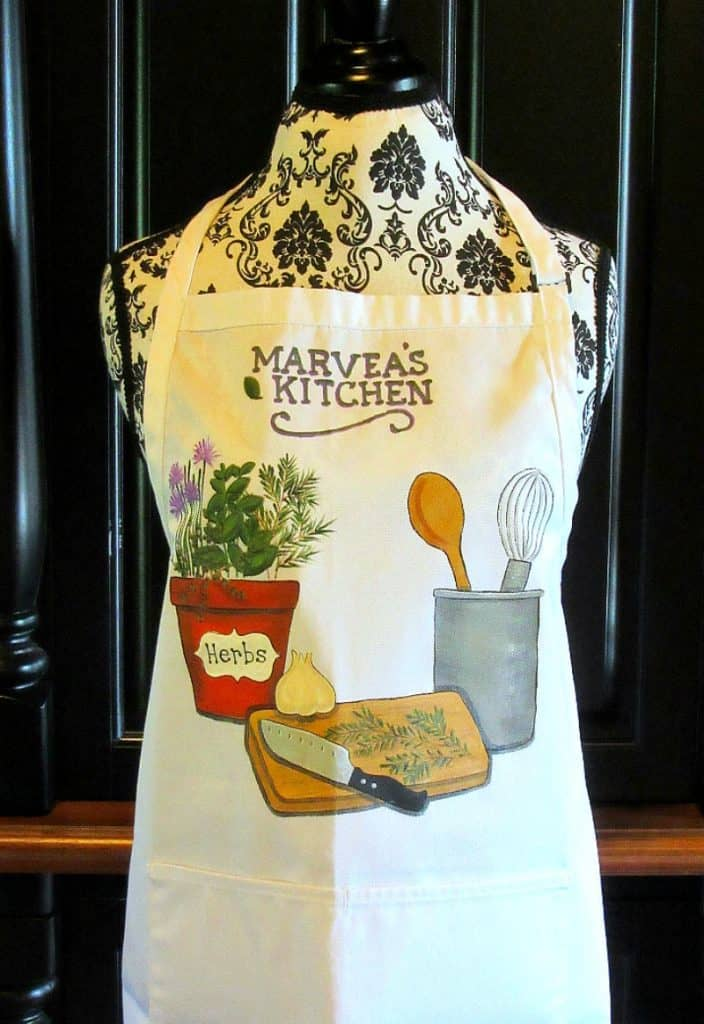 Cooking with Herbs Hand Painted Apron