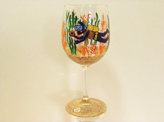 Hand Painted Scuba Diver Wine Glass - kudoskitchenbyrenee.com