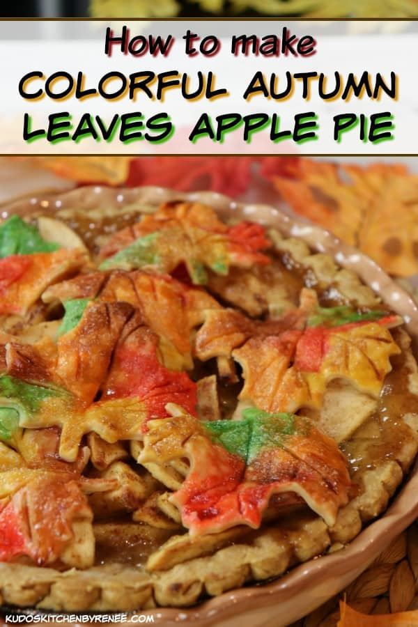 text over an image of autumn leaves apple pie.