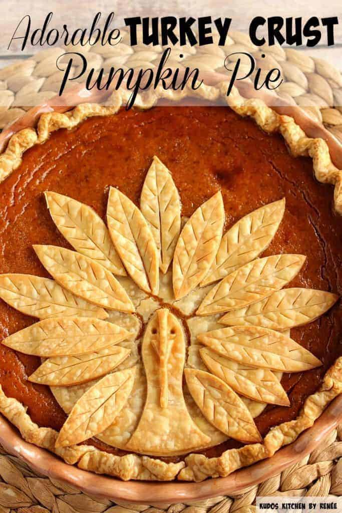 Vertical title text image of a closeup of a turkey crust pumpkin pie.