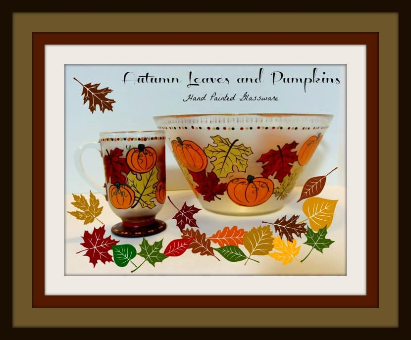 Autumn Leave and Pumpkin Hand Painted Frosted Glassware