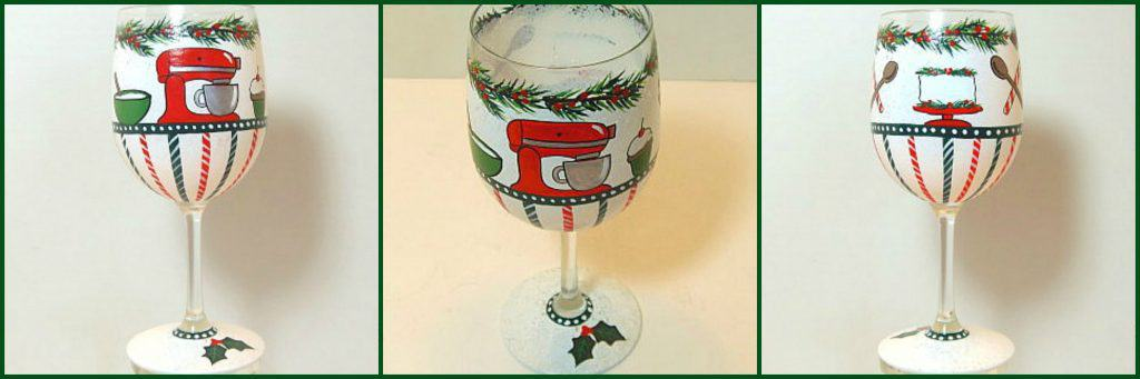 Hand Painted Christmas Baker Wine Glass