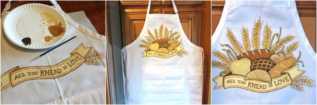Hand Painted Bread Baker Apron