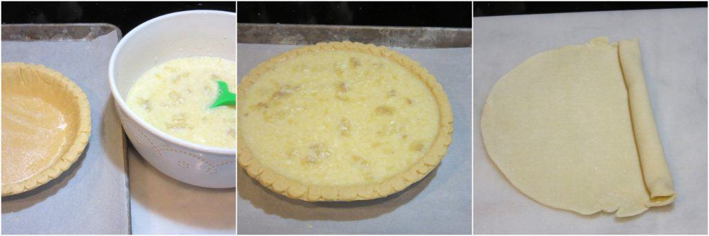 Making a coconut banana custard pie with holly berry crust.
