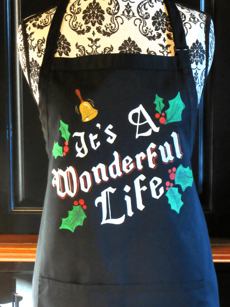 Hand Painted It's a Wonderful Life Christmas Apron