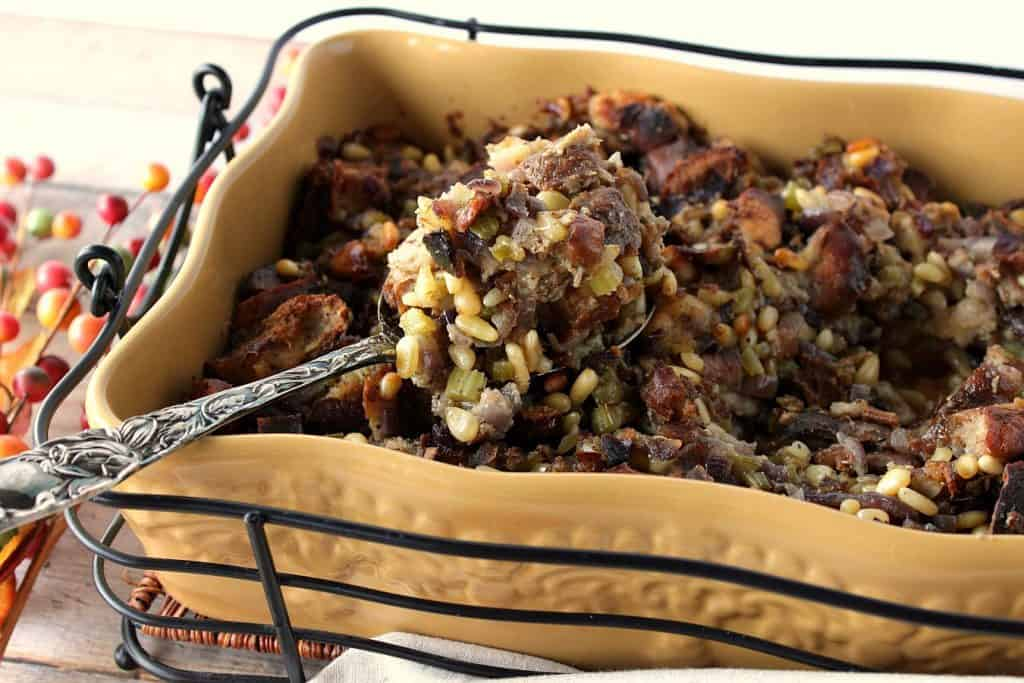 Pretzel Roll Stuffing with Pine Nuts