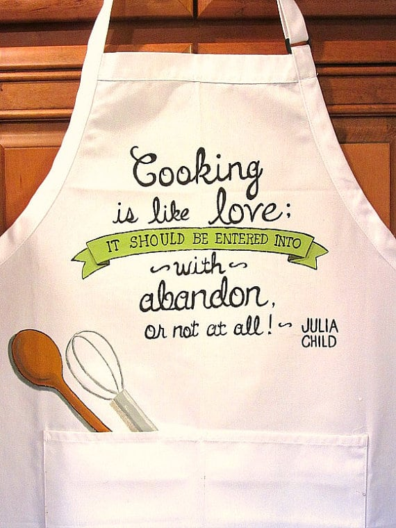 Cooking Quote Hand Painted Apron