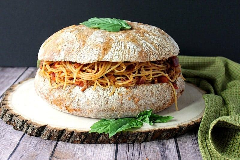 Spaghetti Stuffed Garlic Cheese Bread