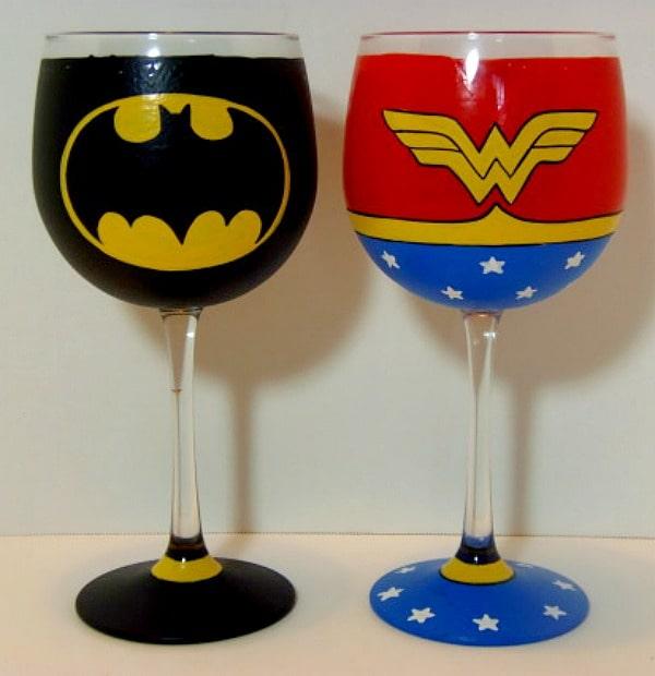 Pair of Super Hero Hand Painted Wine Glasses