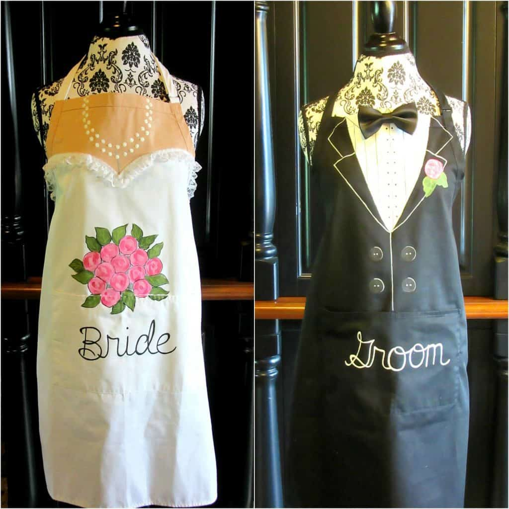 Hand Painted Bride and Groom Aprons