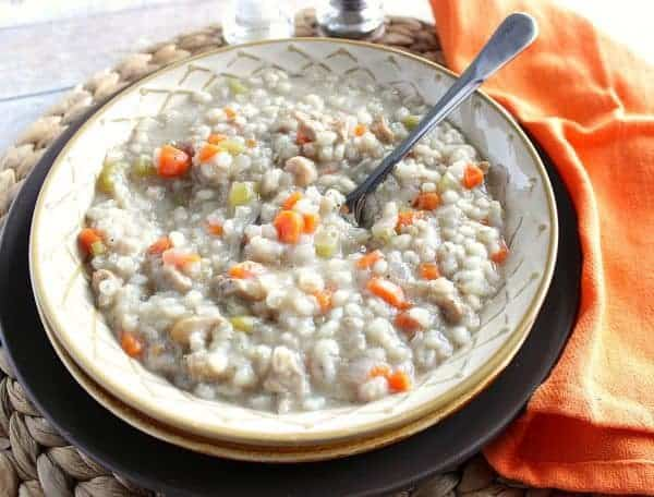 Healthy Homemade Chicken Barley Soup for the Slow Cooker - kudoskitchenbyrenee.com