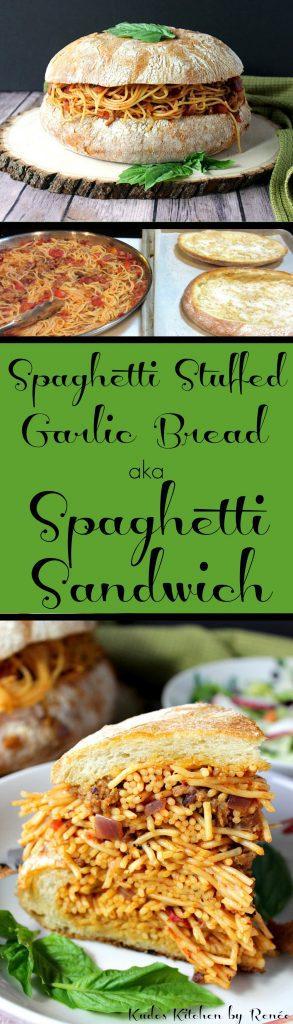 Photo collage with title text for Spaghetti Stuffed Garlic Bread aka Spaghetti Sandwich