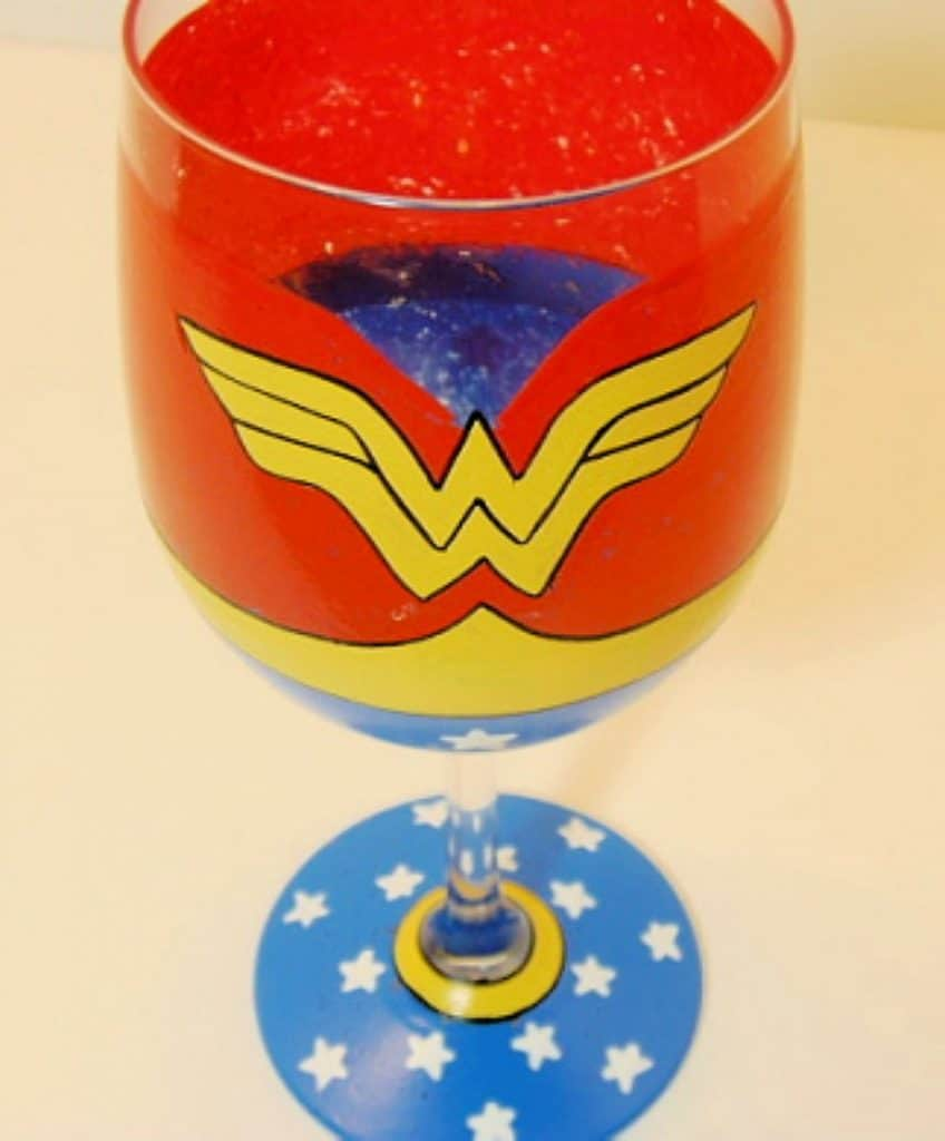 Wonder Woman Hand Painted Wine Glass - kudoskitchenbyrenee.com
