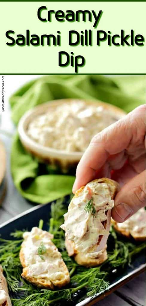 Vertical title image of creamy dill pickle dip