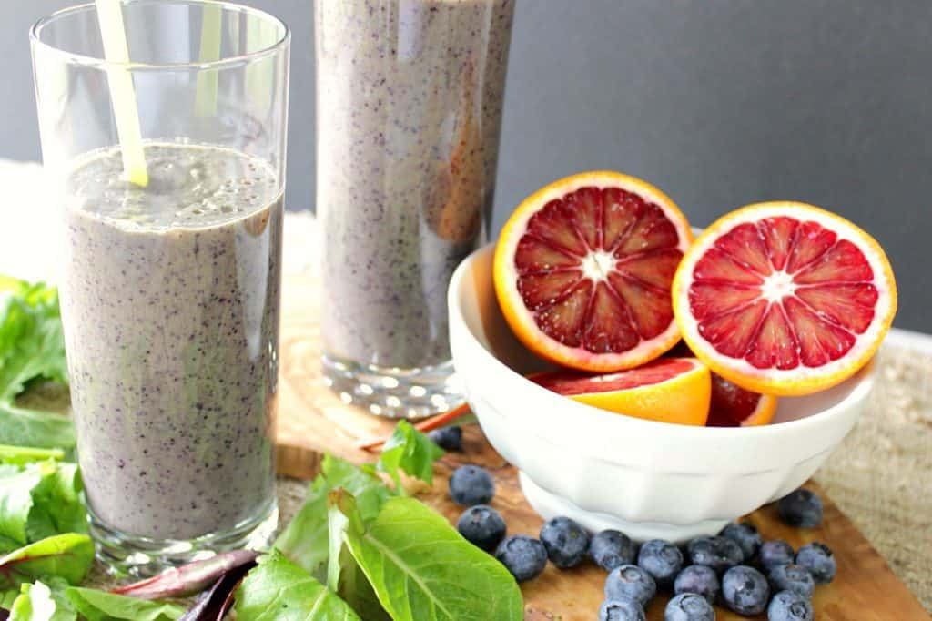 Healthy Blood Orange Blueberry Breakfast Smoothie