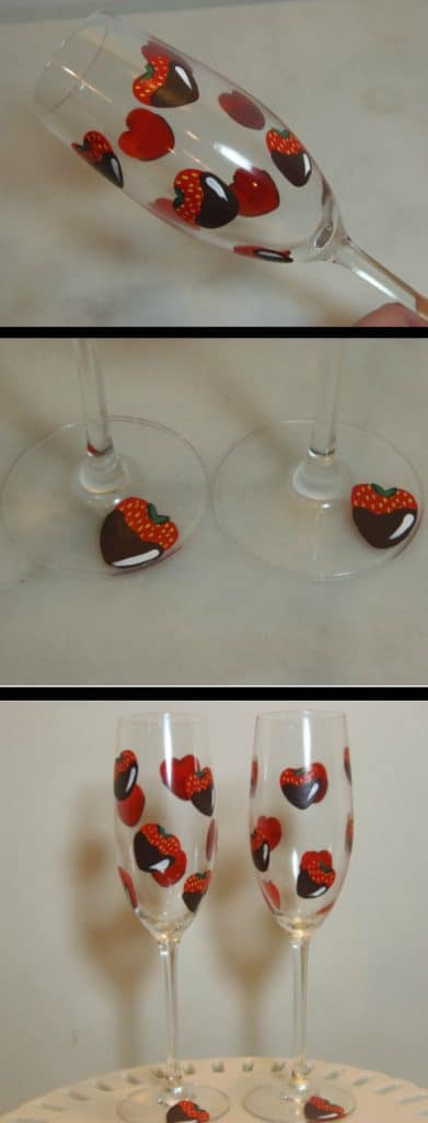 Hand Painted Chocolate Covered Strawberry Champagne Flutes