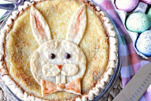 Whimsically Delicious Coconut Chocolate Chip Custard Easter Bunny Pie