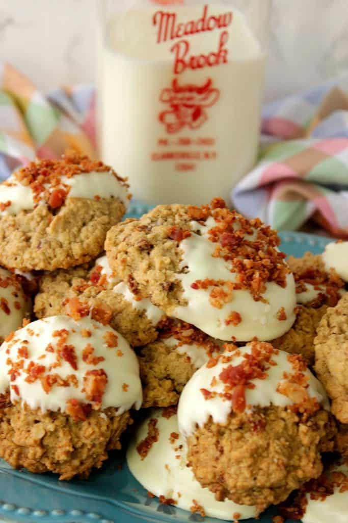 Gluten Free Maple Bacon Oatmeal Cookies Dipped in White Chocolate