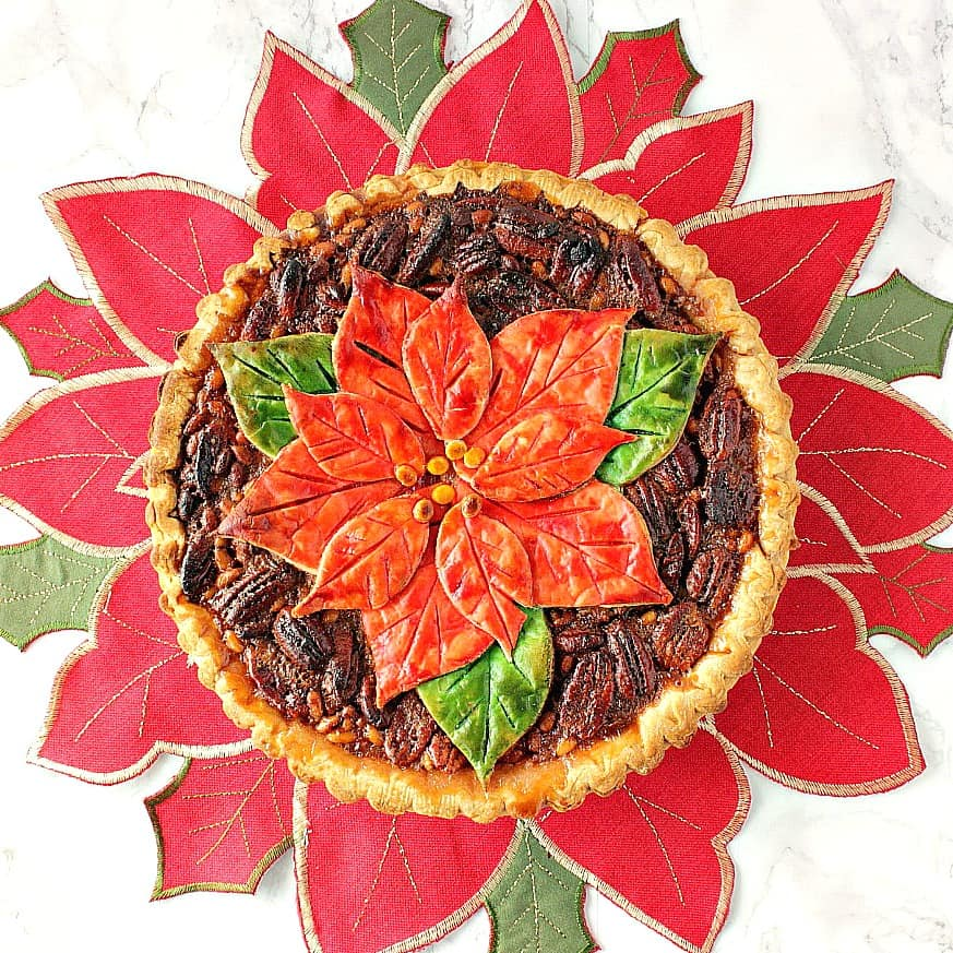 Overhead picture of poinsettia pecan pie